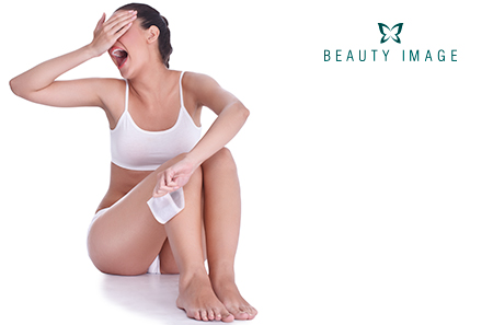 Hair removal products woman depilating