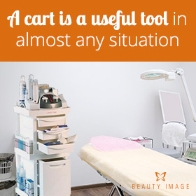 Esthetician Tool Cart in a Waxing Room